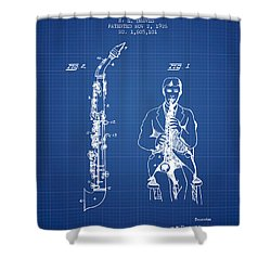 Soprano Saxophone Patent From 1926 - Blueprint Shower Curtain by Aged Pixel