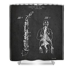 Soprano Saxophone Patent From 1926 - Charcoal Shower Curtain by Aged Pixel