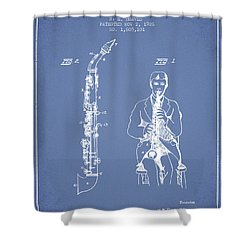 Soprano Saxophone Patent From 1926 - Light Blue Shower Curtain by Aged Pixel