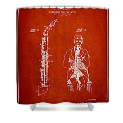 Soprano Saxophone Patent From 1926 - Red Shower Curtain by Aged Pixel