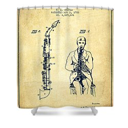 Soprano Saxophone Patent From 1926 - Vintage Shower Curtain by Aged Pixel