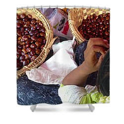 Shower Curtain featuring the photograph Sorting Water Chestnuts Zay Cho Street Market 29th Street Mandalay Burma by Ralph A  Ledergerber-Photography