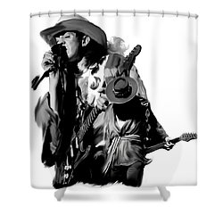 Soul To Soul  Stevie Ray Vaughan Shower Curtain by Iconic Images Art Gallery David Pucciarelli