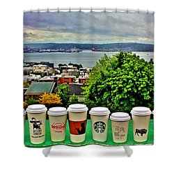 Sound Coffees Shower Curtain by Benjamin Yeager