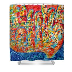 Sound Of Shofar Shower Curtain by Leon Zernitsky