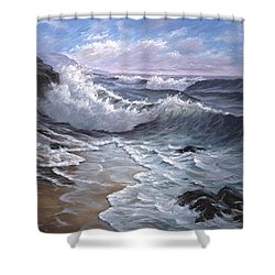 Sounding Waves At Big Sur Shower Curtain