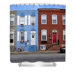 Shower Curtain featuring the photograph South Baltimore Row Homes by Brian Wallace