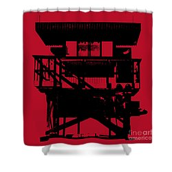 Shower Curtain featuring the digital art South Beach Lifeguard Stand by Jean luc Comperat