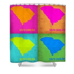 South Carolina Pop Art Map 1 Shower Curtain by Naxart Studio