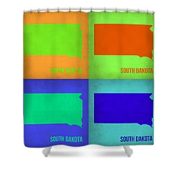 South Dakota Pop Art Map 1 Shower Curtain by Naxart Studio