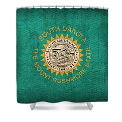 South Dakota State Flag Art On Worn Canvas Shower Curtain by Design Turnpike