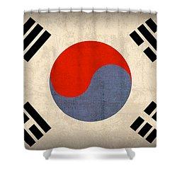 South Korea Flag Vintage Distressed Finish Shower Curtain