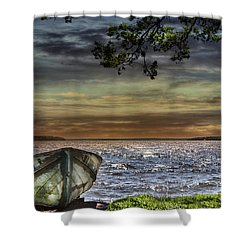 South Manistique Lake With Rowboat Shower Curtain
