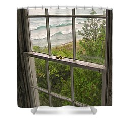 South Manitou Island Lighthouse Window Shower Curtain