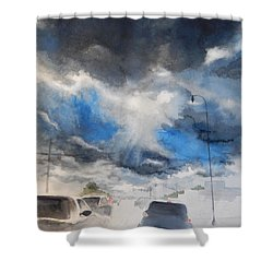 South Maple Road   Ann Arbor Michigan Shower Curtain by Yoshiko Mishina