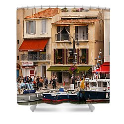 South Of France Fishing Village Shower Curtain by Bob Phillips