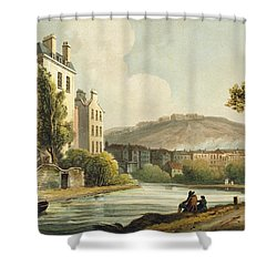 South Parade From Bath Illustrated Shower Curtain by John Claude Nattes