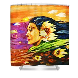 South Sea Breeze  Fleeting Blossoms Shower Curtain by Al Brown