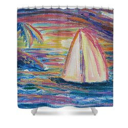 South Seas Sunset Shower Curtain by Diane Pape