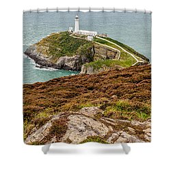 South Stack Lighthouse Shower Curtain by Adrian Evans