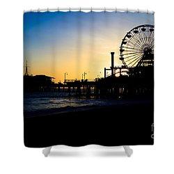 Southern California Santa Monica Pier Sunset Shower Curtain by Paul Velgos