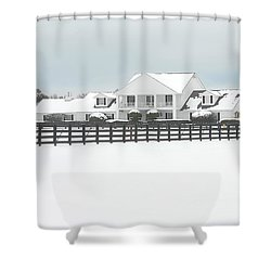 Shower Curtain featuring the photograph Snow Covered Southfork Ranch   by Dyle   Warren