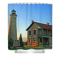 Shower Curtain featuring the photograph Southport Lighthouse On Simmons Island by Kay Novy