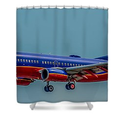 Southwest 737 Landing Shower Curtain by Paul Freidlund