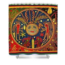 Southwest Huichol Del Sol Shower Curtain by Vagabond Folk Art - Virginia Vivier