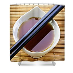 Soy Sauce With Chopsticks Shower Curtain by Elena Elisseeva