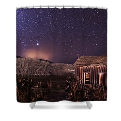 Space And Time Shower Curtain by Cat Connor