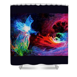 Space Cat Angel - 2 Shower Curtain by Julie Turner