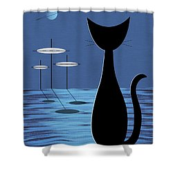Space Cat In Blue Shower Curtain by Donna Mibus