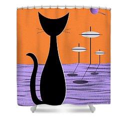 Space Cat Orange Sky Shower Curtain