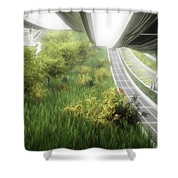 Shower Curtain featuring the digital art Space Colony Farm by Bryan Versteeg