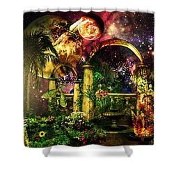Space Garden Shower Curtain by Ally  White