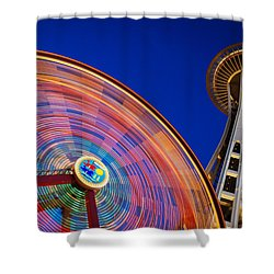 Space Needle And Wheel Shower Curtain by Inge Johnsson