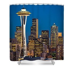 Space Needle Evening Shower Curtain by Inge Johnsson