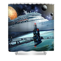 Space Ship Shower Curtain by Ciro Marchetti