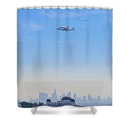 Space Shuttle Endeavour And Chase Planes Over The Griffith Observatory Shower Curtain
