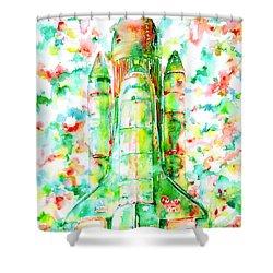 Space Shuttle - Launch Pod Shower Curtain by Fabrizio Cassetta