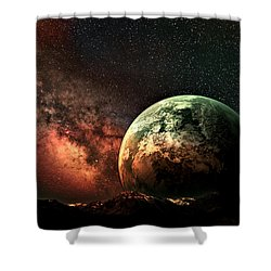 Spaced Out Shower Curtain by Ally  White
