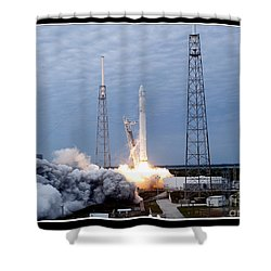 Spacex-2 Mission Launch Nasa Shower Curtain by Rose Santuci-Sofranko