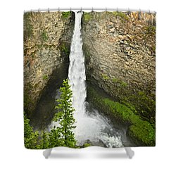 Spahats Falls Waterfall In Wells Gray Provincial Park Shower Curtain by Elena Elisseeva