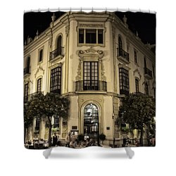 Spain At Night Shower Curtain by Mary Machare