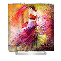 Spain - Flamencoscape 12 Shower Curtain by Miki De Goodaboom