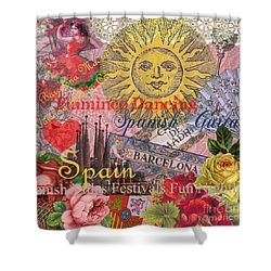 Spain Vintage Trendy Spain Travel Collage  Shower Curtain