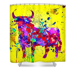 Spanish Bull Shower Curtain by Daniel Janda