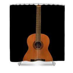 Spanish Guitar On Black Shower Curtain by Debra and Dave Vanderlaan