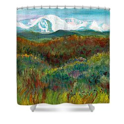 Spanish Peaks Evening Shower Curtain by C Sitton